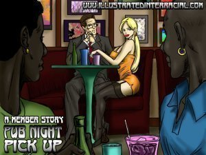 Pub Night Pick Up- illustrated interracial